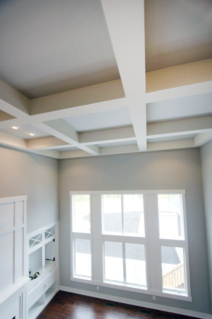 Drywall coffered ceiling living room for Drywall designs living room