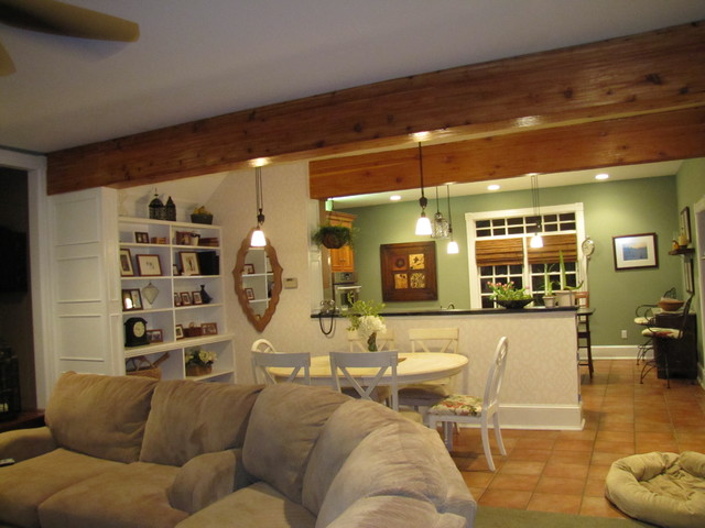 Drywall to woodland room beams traditional living - Beams in living room ...