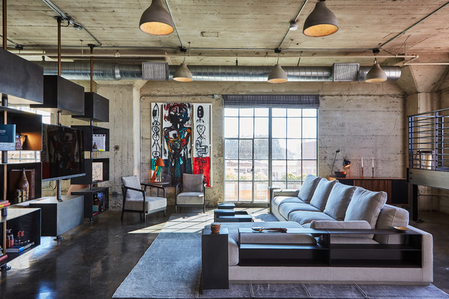 DTLS Industrial Loft Apartment: Living room - Industrial ...