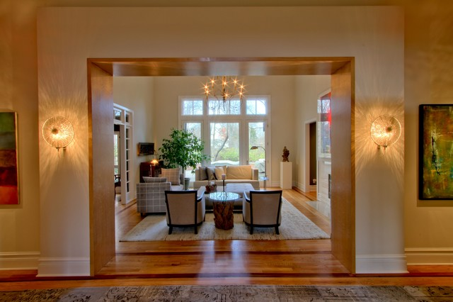Dual & Costa Coco Wall Sconces Flanking Opening to Living Room - Transitional - Living Room ...