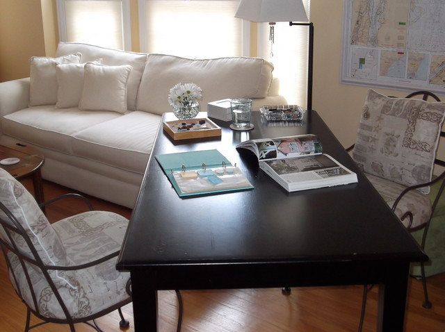 Dual purpose living room home office traditional for Purpose of a living room