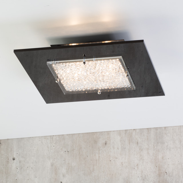 Dubai Square 4 Light Flush Ceiling Light   Black Contemporary Living Room