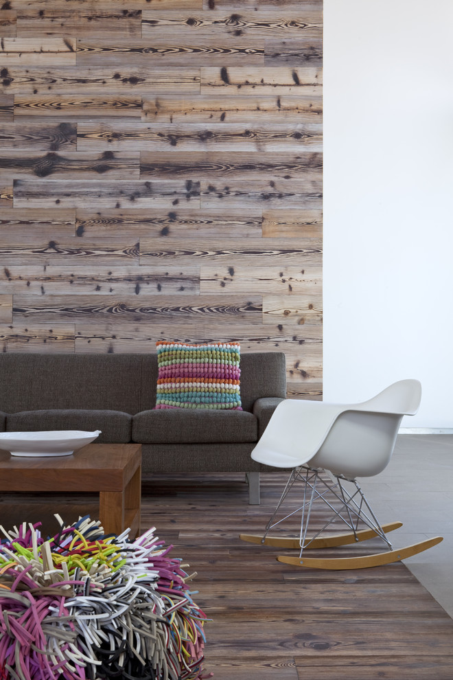 Inspiration for a modern dark wood floor living room remodel in San Diego