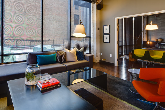 Dwelling Designs Warehouse District Loft industrial-living-room