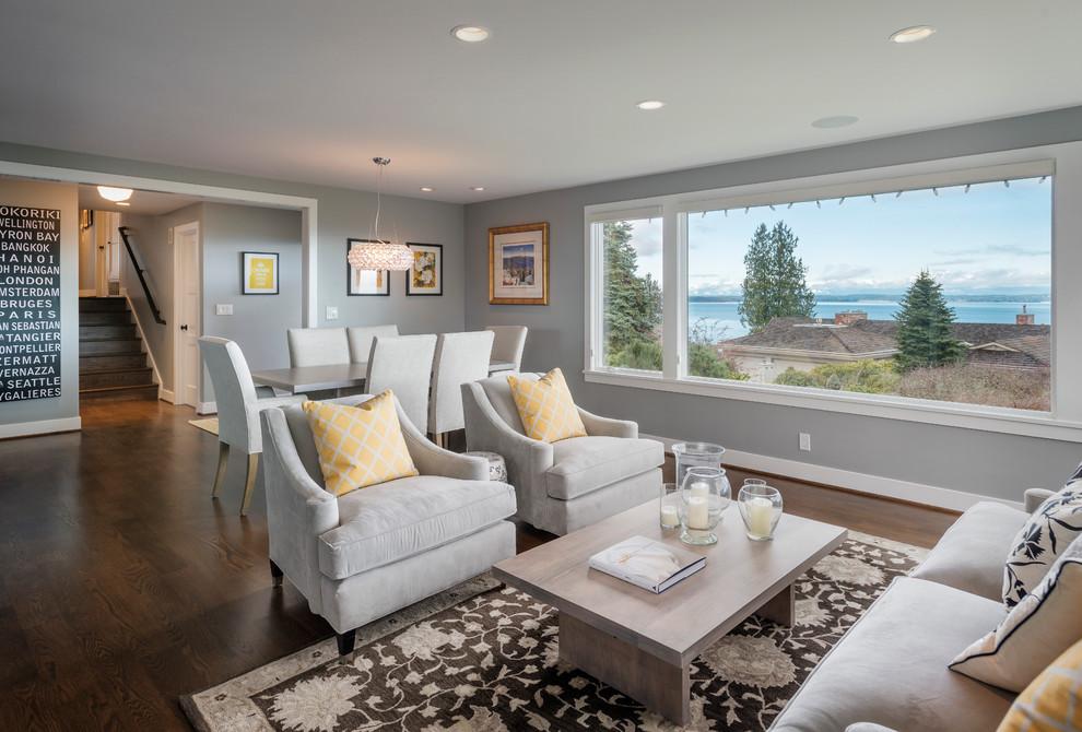Trendy dark wood floor living room photo in Seattle with gray walls