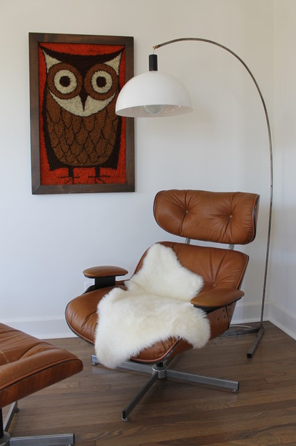 Eames Style Lounger And Ottoman With Arc Lamp And Rya Rug