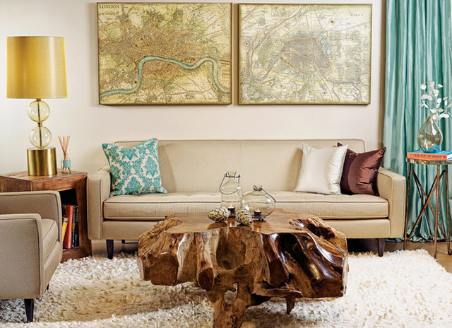 Earthy modern eclectic living room houston by high for Earthy apartment decor