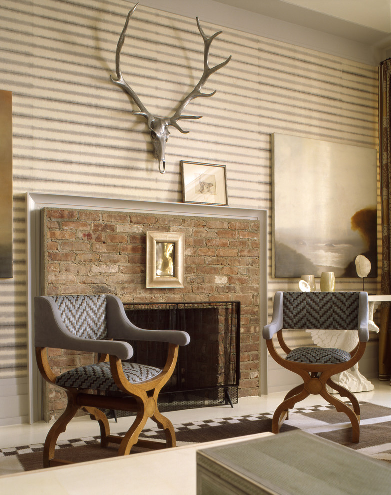 Living room - modern living room idea in New York with a standard fireplace, a brick fireplace and no tv