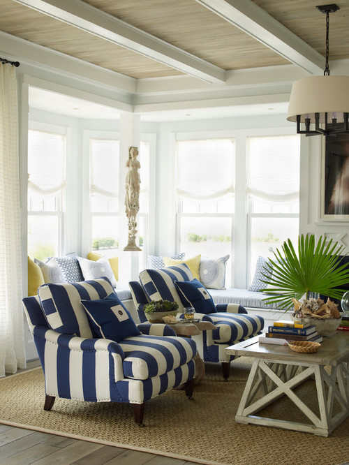 Transitional Living Room With Coastal Vibe And Blue: Town & Country Living