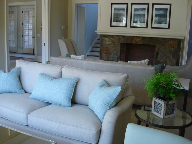 East Hampton beach-style-living-room