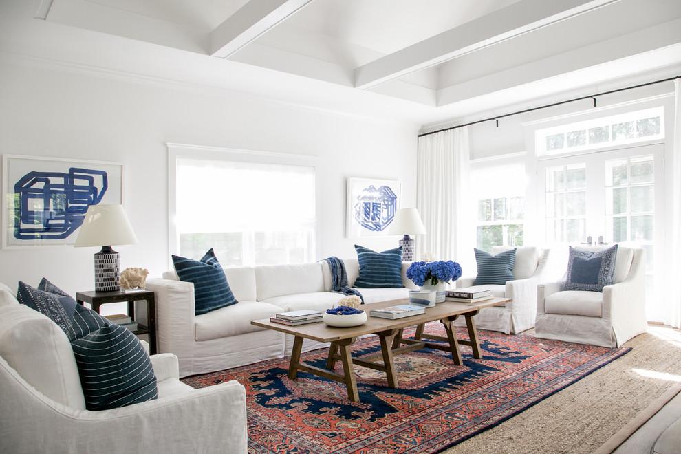 East Hampton New Traditional - Beach Style - Living Room ...