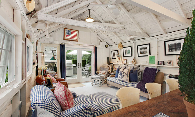 East hampton village barn traditional living room new york by james mcadam design for Americana furniture and interiors
