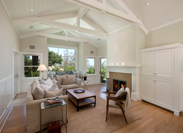 vaulted ceiling living room. Large traditional formal and open concept light wood floor living room idea  in Santa Barbara with Living Room Vaulted Ceiling Houzz
