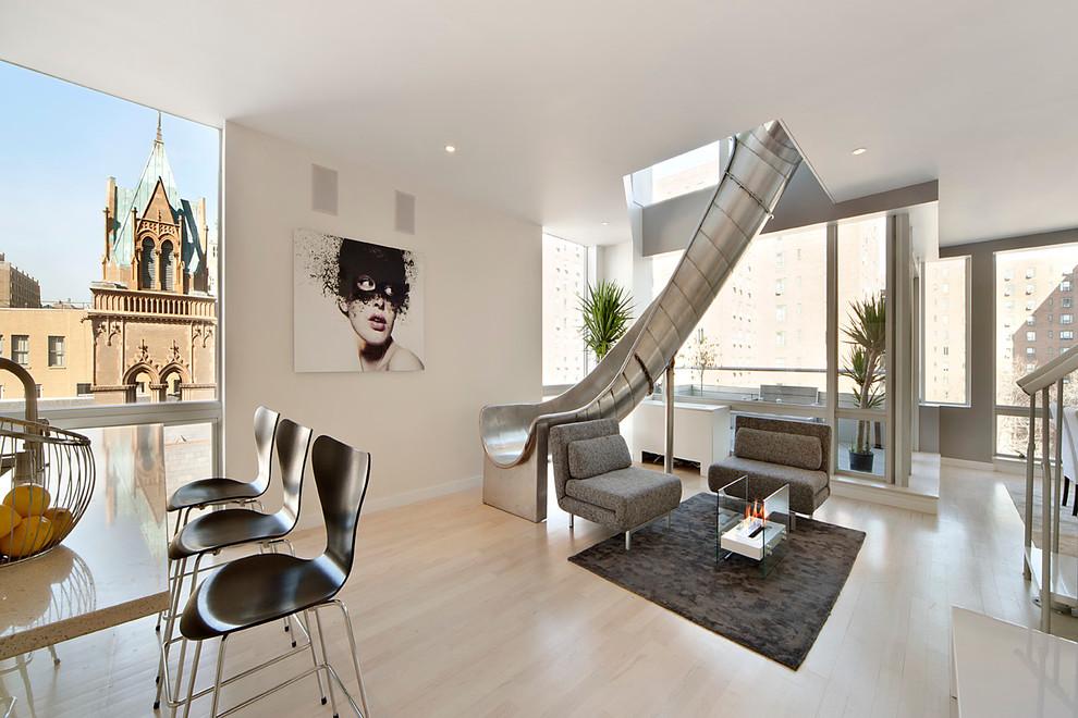 Living room - contemporary light wood floor living room idea in New York