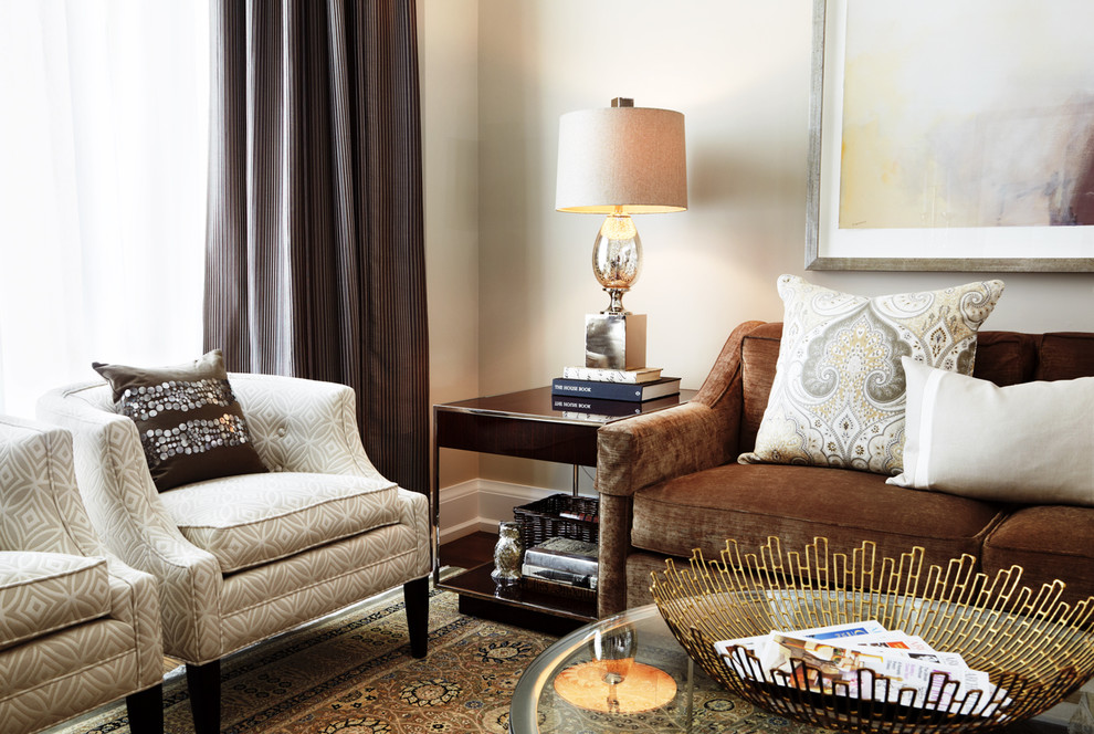 Living room - modern living room idea in Toronto with beige walls