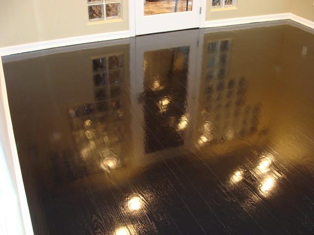 Ebony High Gloss Wood Floors Modern Living Room Kansas City