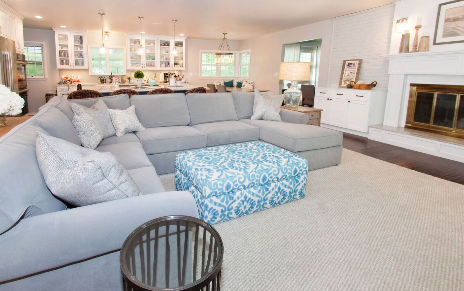 Eclectic cozy open concept kitchen-living room in Kettering