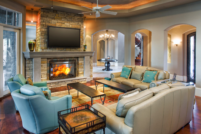 Eclectic lake house traditional living room austin for Living room austin
