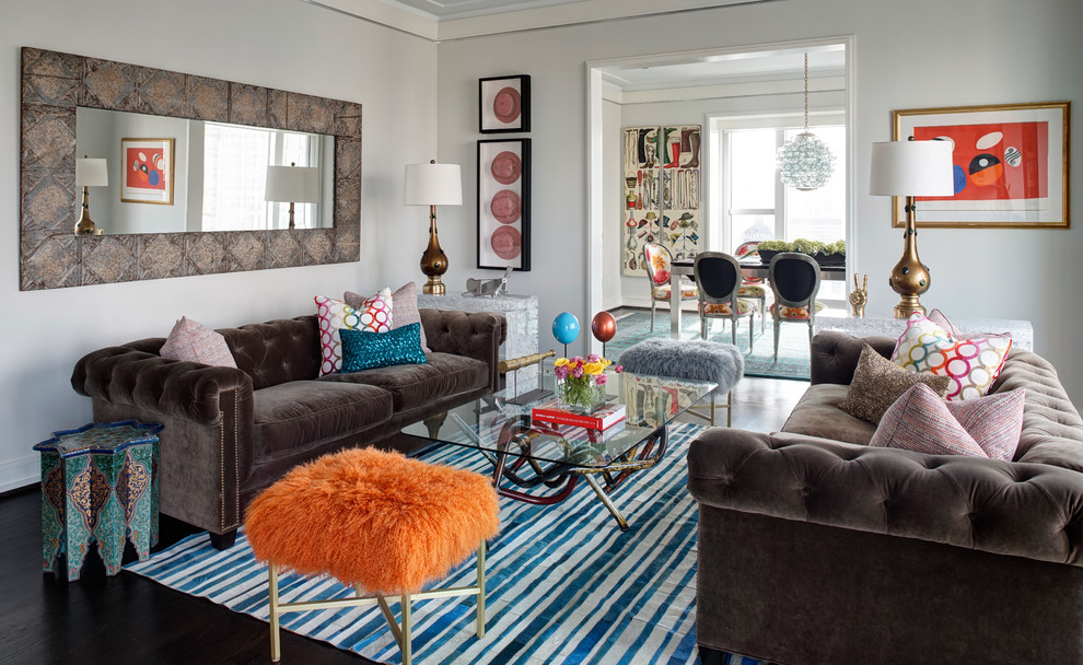 Mid-sized eclectic formal and enclosed dark wood floor living room photo in Chicago with white walls