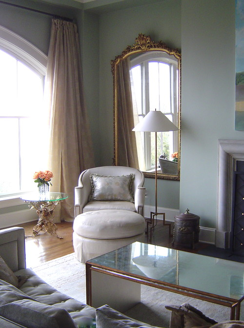 Traditional Living Room in Blue, Cream, and Gold