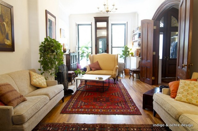 Prospect heights brownstone eclectic living room new for New york brownstone interior design