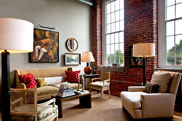 Inspiration for an eclectic living room remodel in Nashville with gray walls