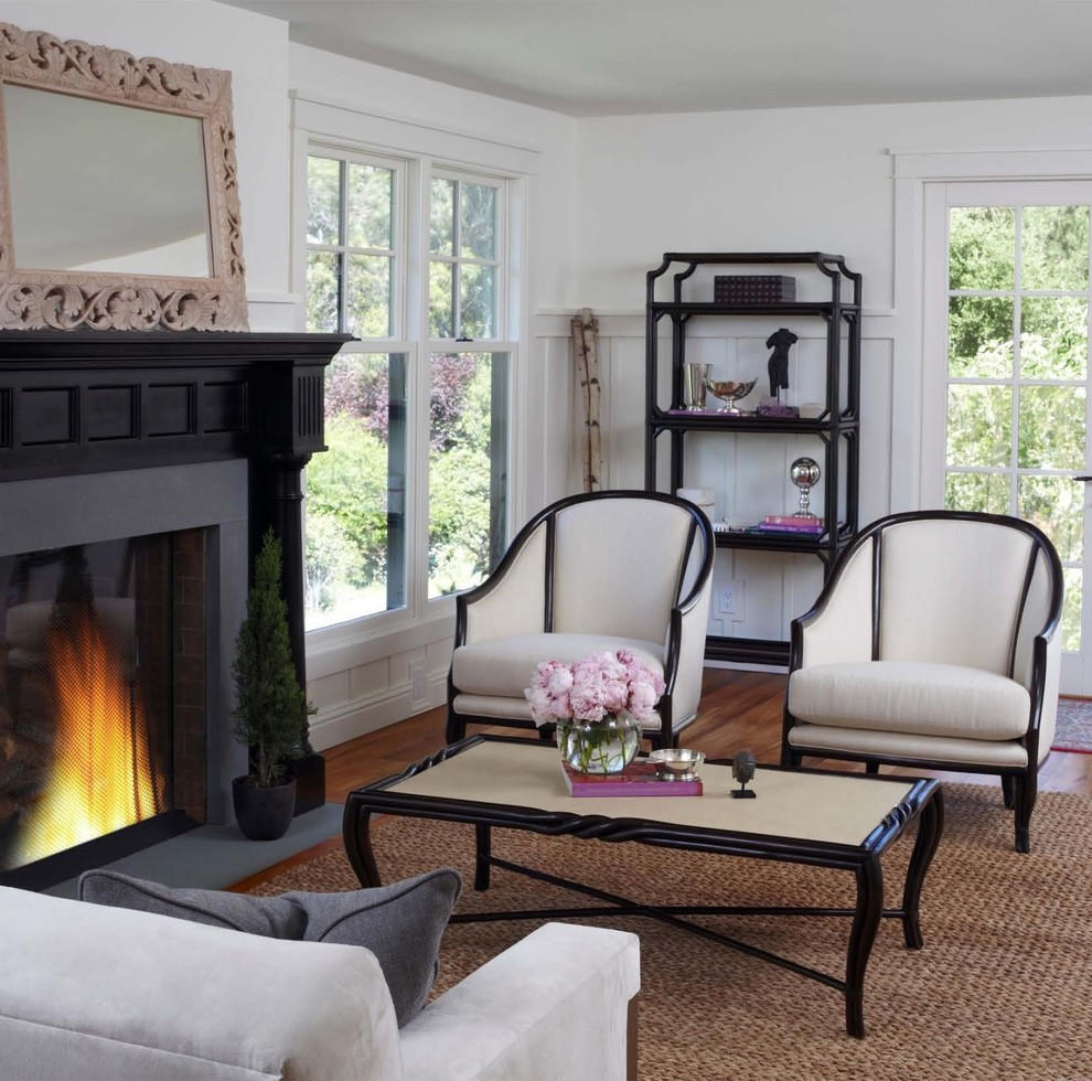 Eclectic living room photo in San Francisco with white walls and a standard fireplace