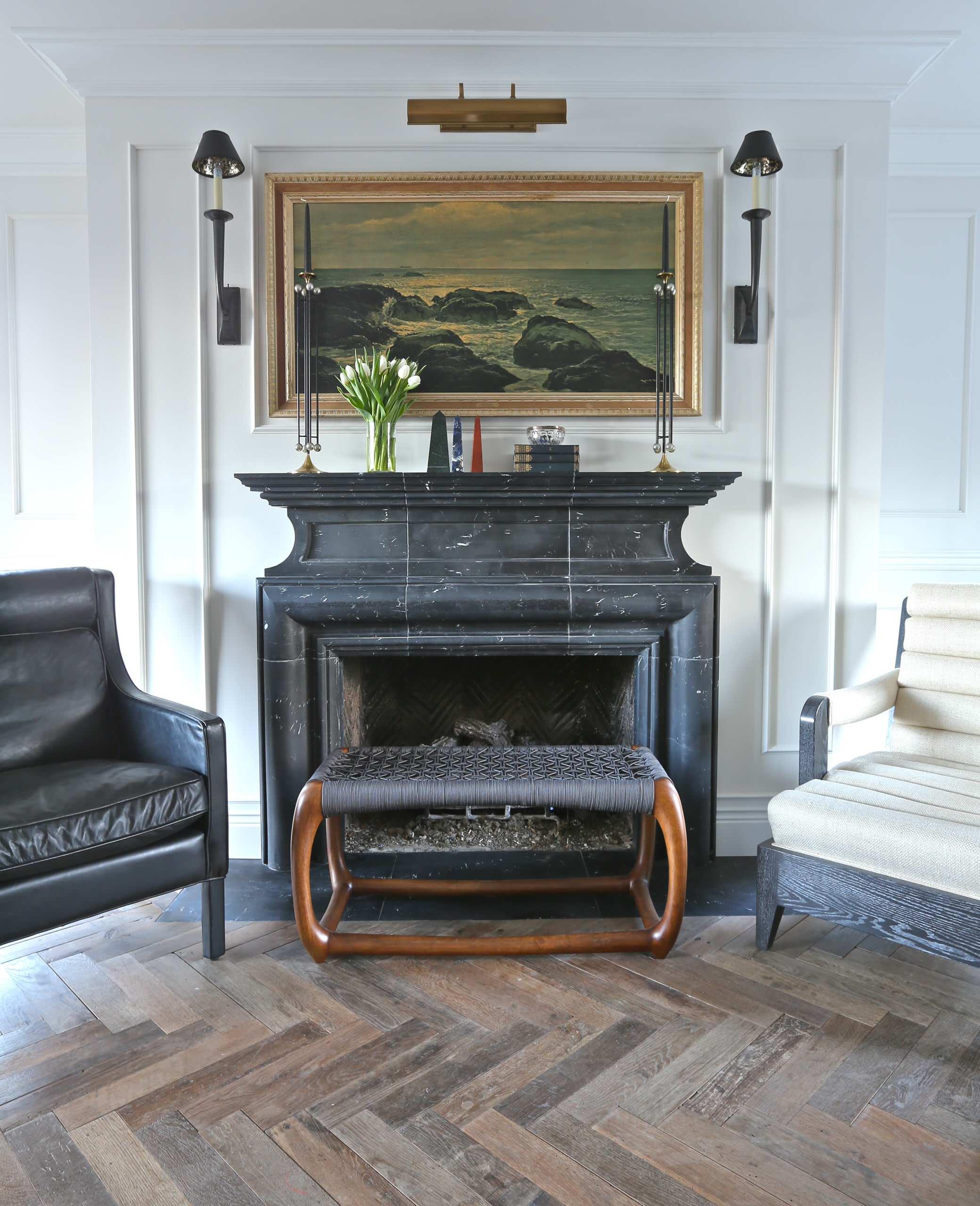 Black Marble Fireplace Houzz, Black Marble Fireplace Surround Ideas