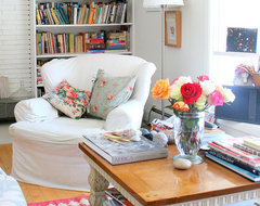 White slipped cover chair eclectic living room