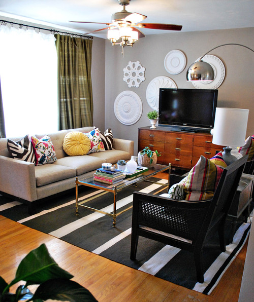 Eclectic Living Room with Pops of Color