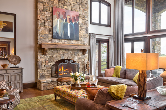 Wonderful Eclectic Mountain Home Rustic Living Room