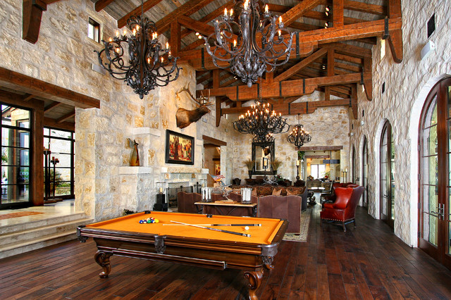 Eclectic Spanish Style Lake House Traditional Living Room