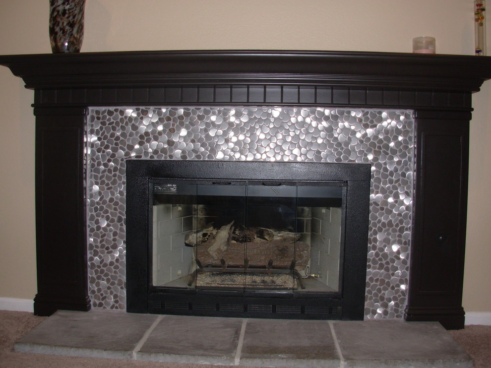 Eden Mosaic Tile Installations River, Metallic Tile Fireplace