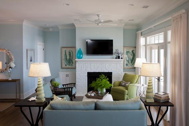 Edisto beach house beach style living room for Beach house style living room