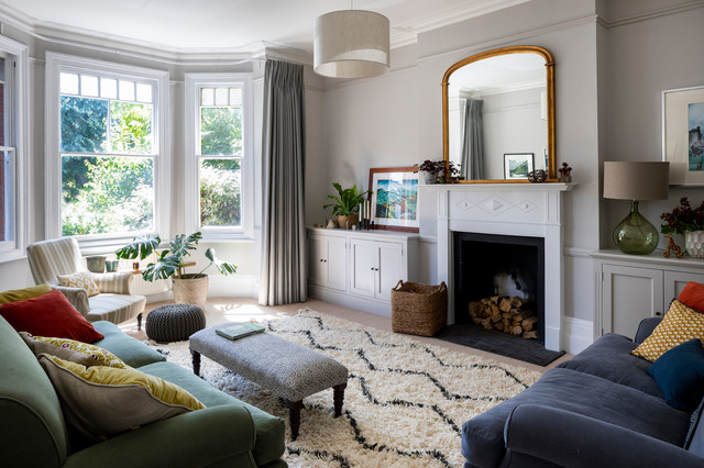 edwardian double fronted house  contemporary  living