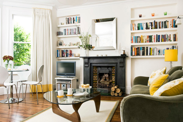 Edwardian Flat, North London transitional-living-room