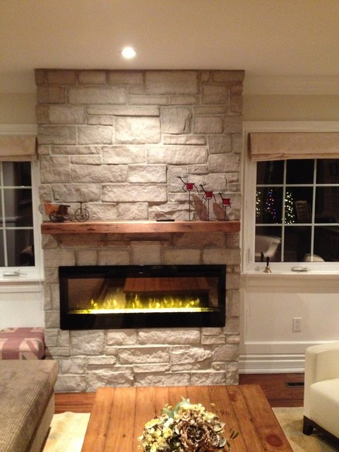 Electric Fireplace With Natural Stone Barn Beam Mantel