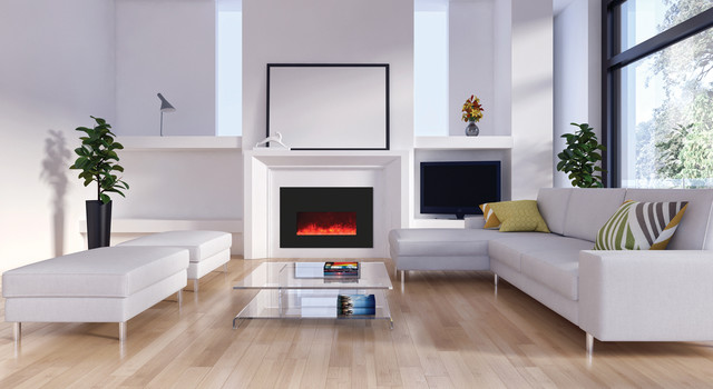 Living room - mid-sized contemporary formal and open concept light wood floor living room idea in Boston with white walls, a ribbon fireplace, no tv and a tile fireplace