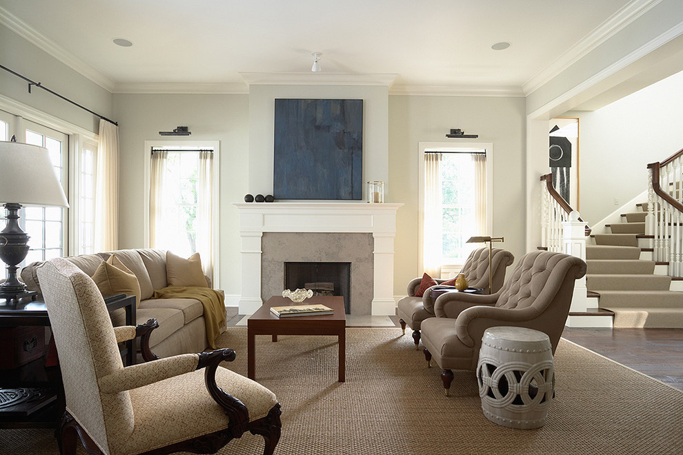 Living room - traditional dark wood floor living room idea in Minneapolis with a standard fireplace