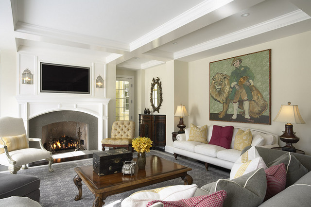 Elegant And Warm Family Room Fireplace Traditional