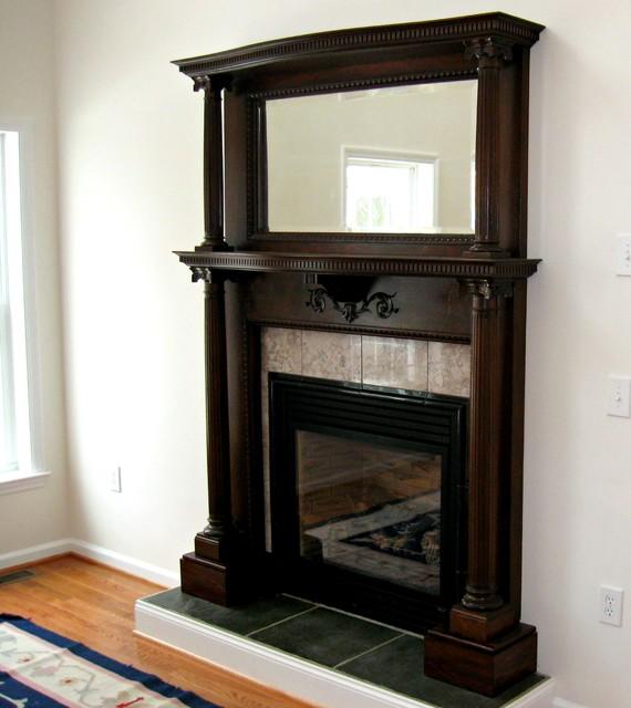 cherry wood fireplace