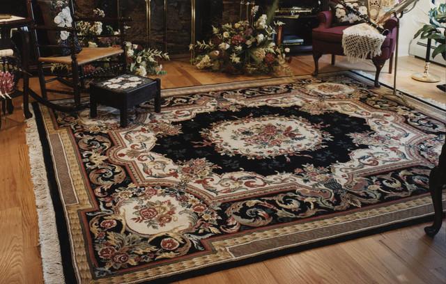 Elegant Fine Black Aubuson Oriental Rug Nejad Rugs Traditional Living Room