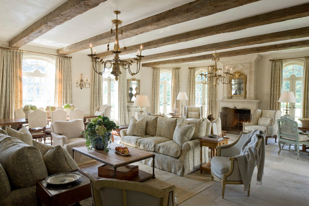 Living room - large french country formal and open concept slate floor living room idea in Houston with beige walls, a standard fireplace, a stone fireplace and no tv