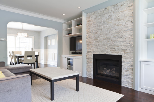 Contemporary living room ideas with fireplace - Elegant Living Room Contemporary Living Room Toronto By