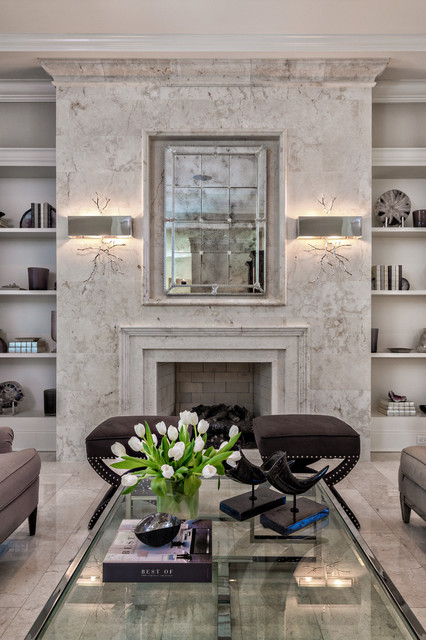 Elegant Living Room W Limestone Fireplace Transitional