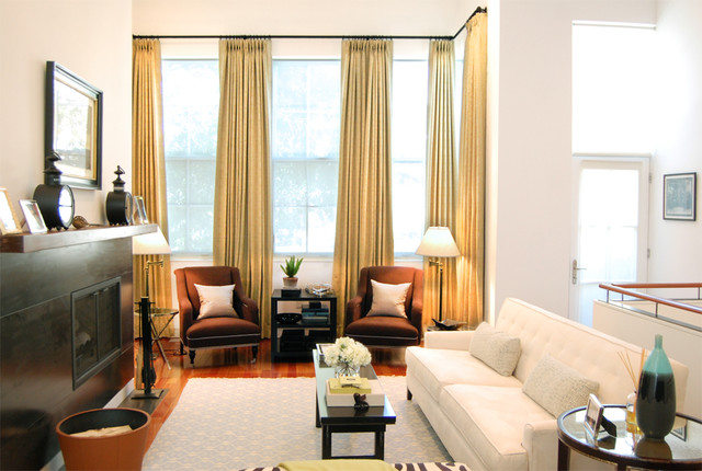 Elegant Minimalistic Approach to Drapes in a Mid-Century Living Room midcentury-living-room