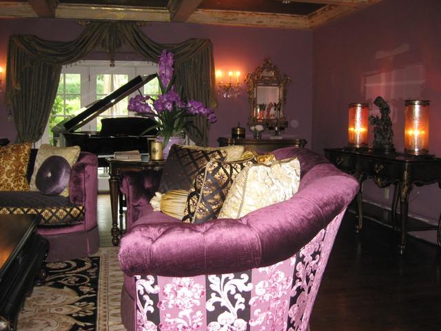Elegant Plum Colored Living Room Traditional Living