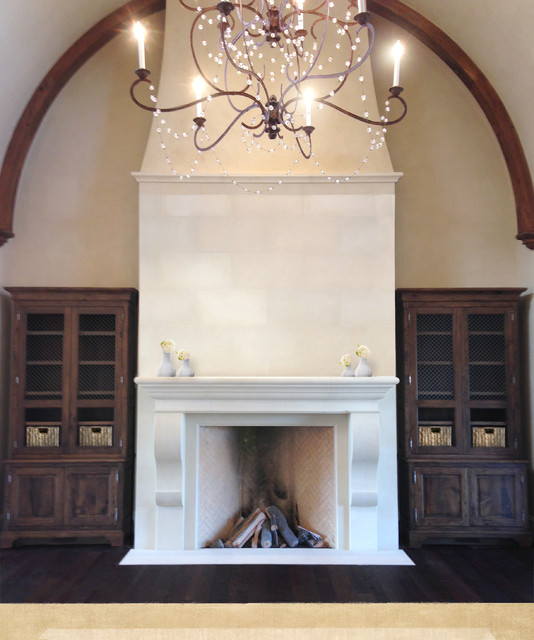 Elegant Tall Limestone Fireplace Traditional Living