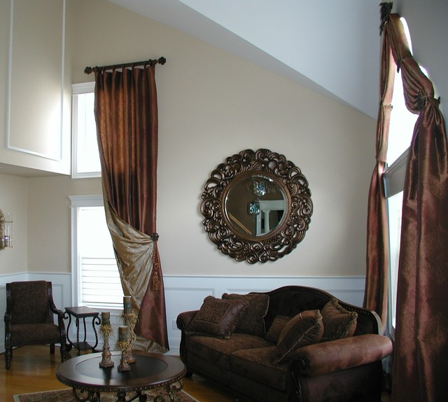Elegant Tall Living Room Window Treatment Eclectic