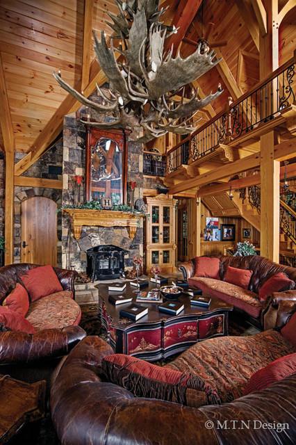 Elegant timber frame home in kentucky rustic living for Rustic elegant living room